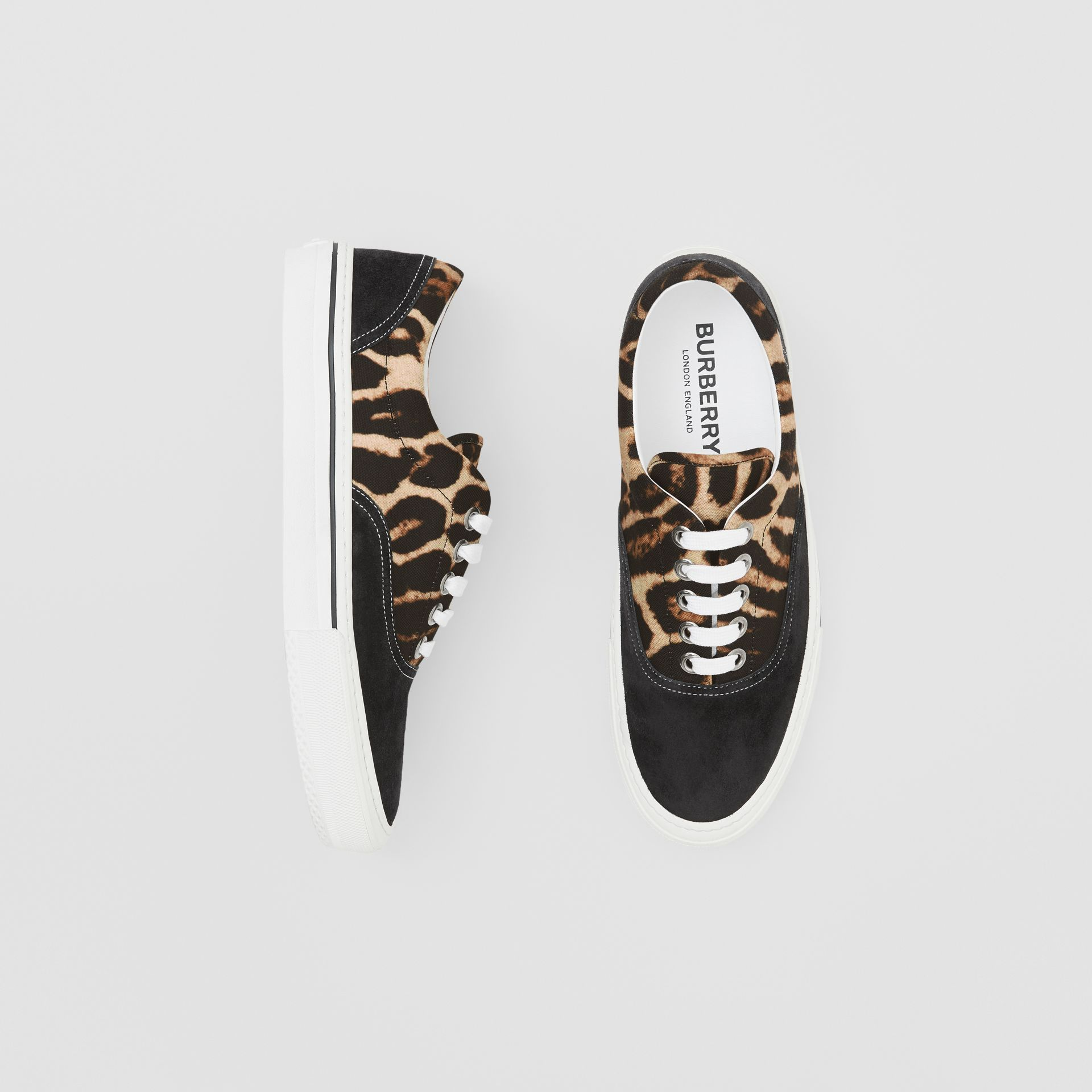 Leopard Print Nylon and Suede Sneakers in Black/honey - Men | Burberry United States - gallery image 0