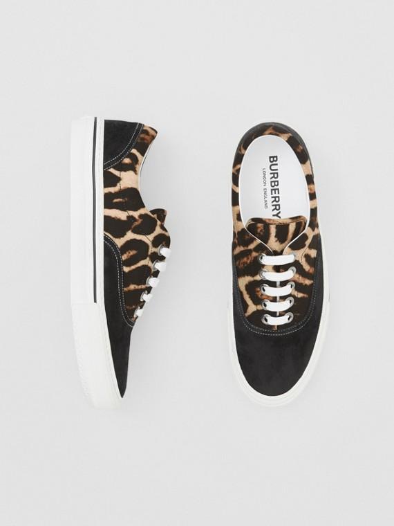 豹紋尼龍和麂皮運動鞋 (黑色/蜜金色)