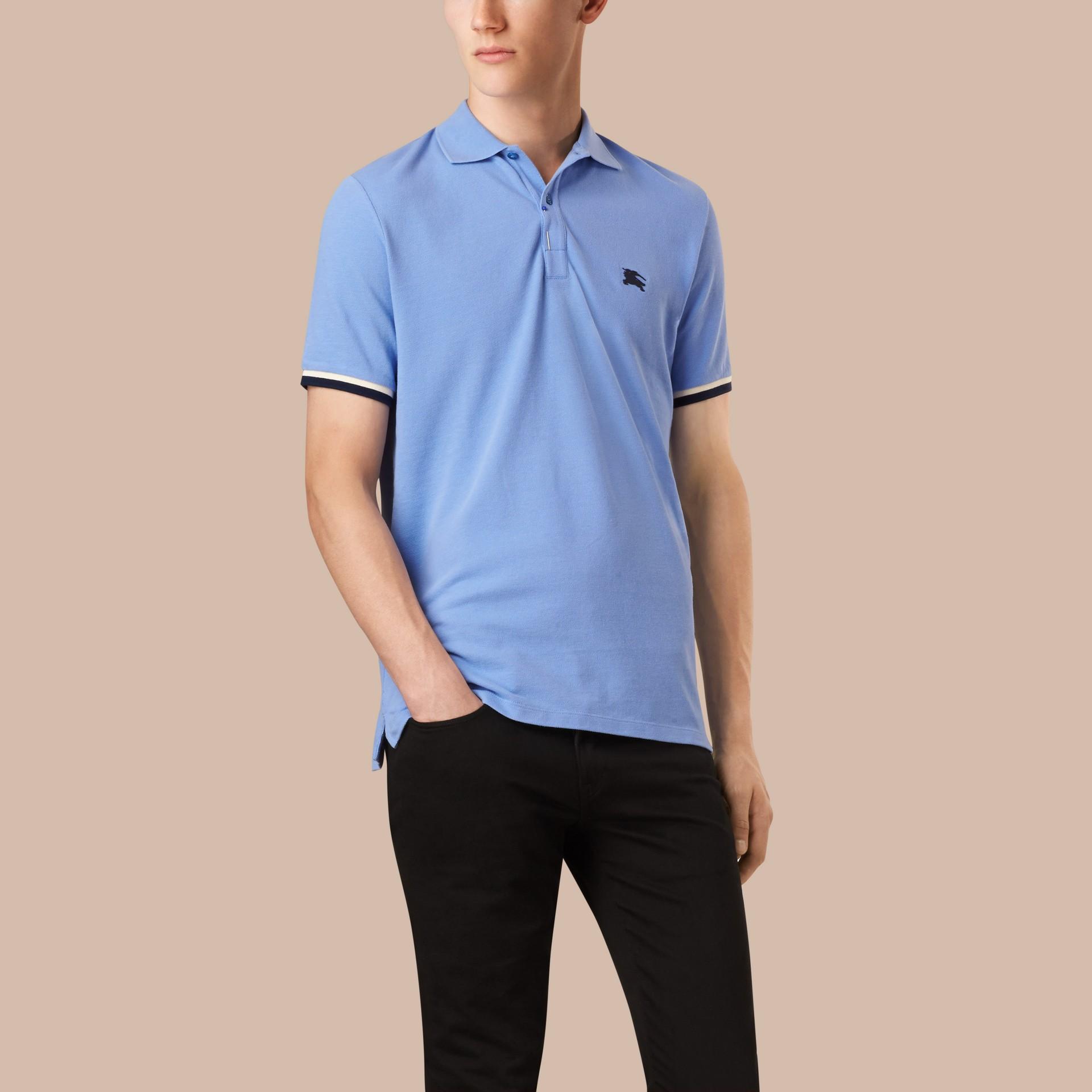 Hydrangea blue Contrast Cuff Cotton Piqué Polo Shirt Hydrangea Blue - gallery image 1