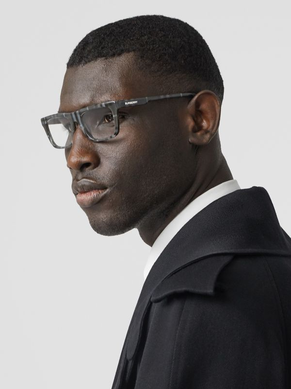Vintage Check Rectangular Optical Frames in Charcoal Black - Men | Burberry - cell image 2