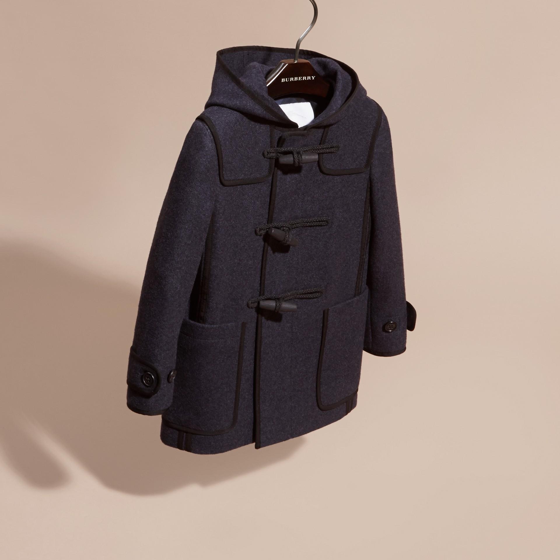 Midnight blue Duffle coat de lã e cashmere tecnológicos - galeria de imagens 3