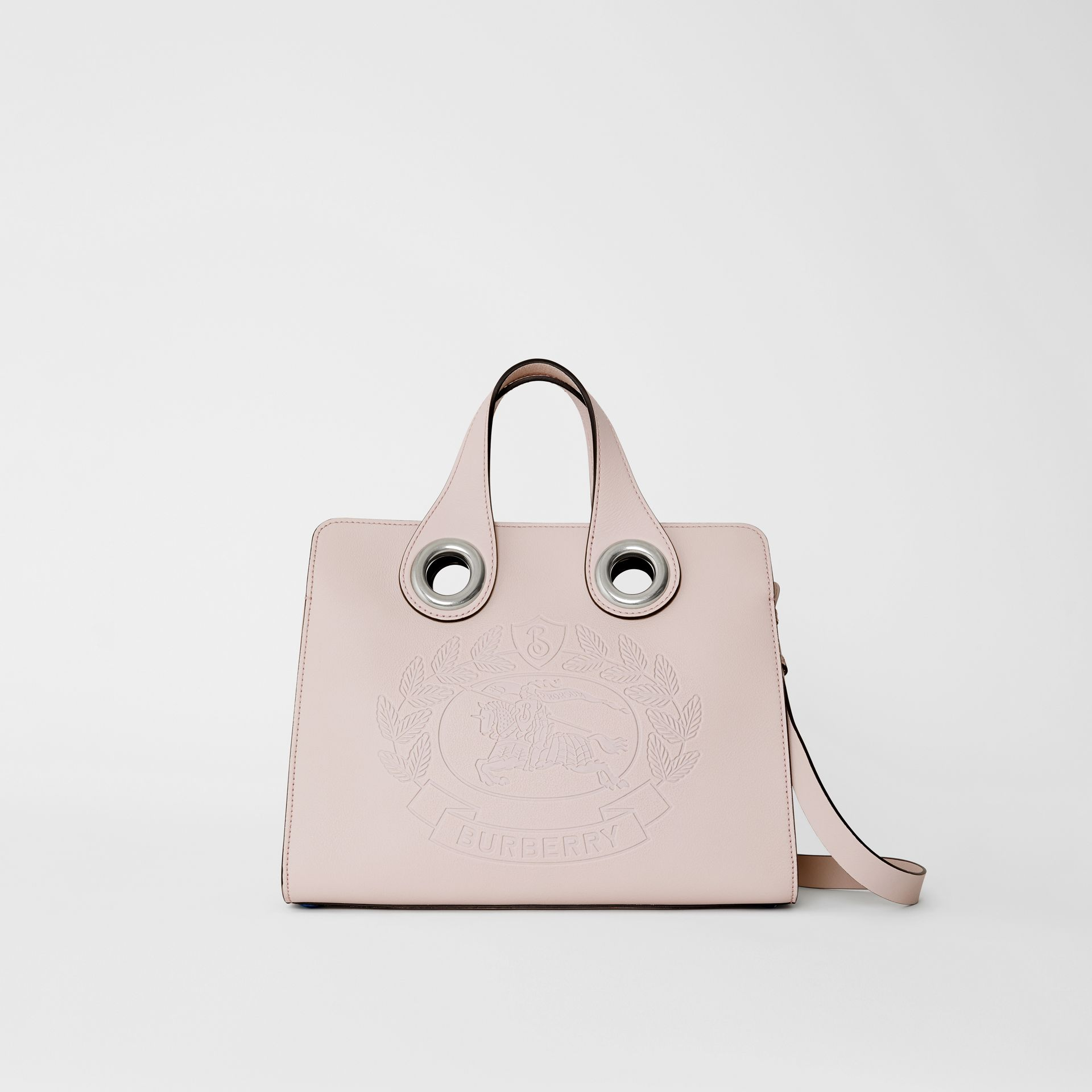 The Leather Crest Grommet Detail Tote in Chalk Pink - Women | Burberry - gallery image 0