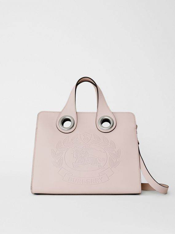 The Leather Crest Grommet Detail Tote in Chalk Pink