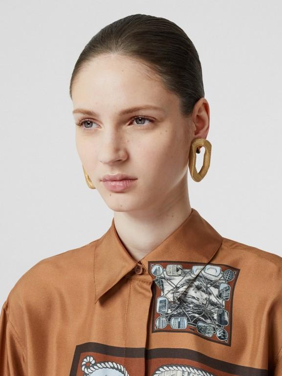 Camisa oversize de sarja de seda com estampa de aparelho náutico (Marrom Castanho Escuro) - Mulheres   Burberry - cell image 1