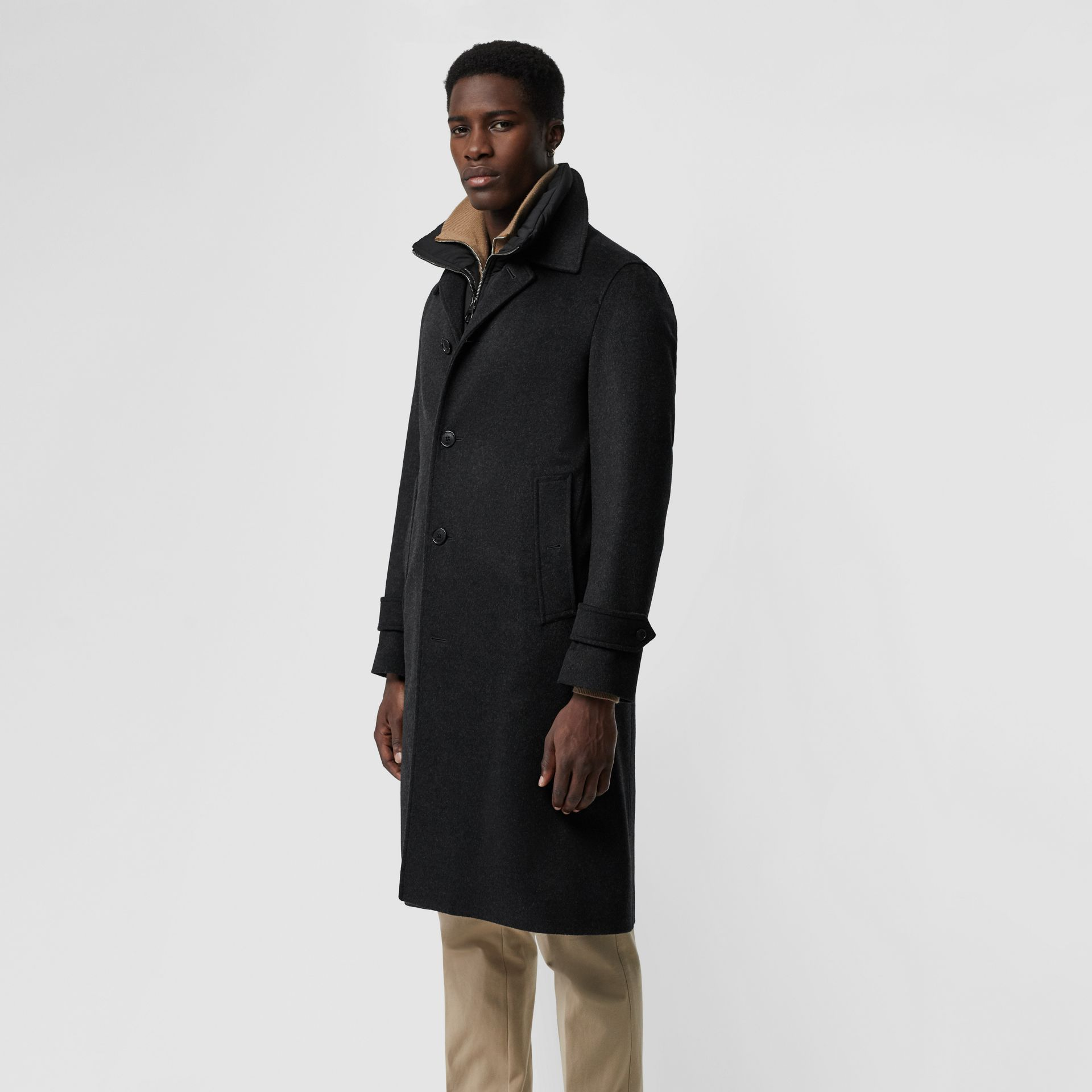 Wool Cashmere Car Coat with Detachable Gilet in Dark Grey Melange - Men | Burberry - gallery image 5