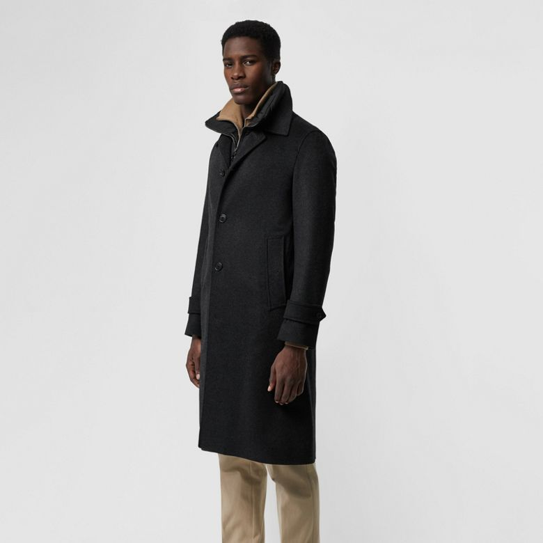 Burberry - Paletot en laine et cachemire avec veste sans manches amovible - 6