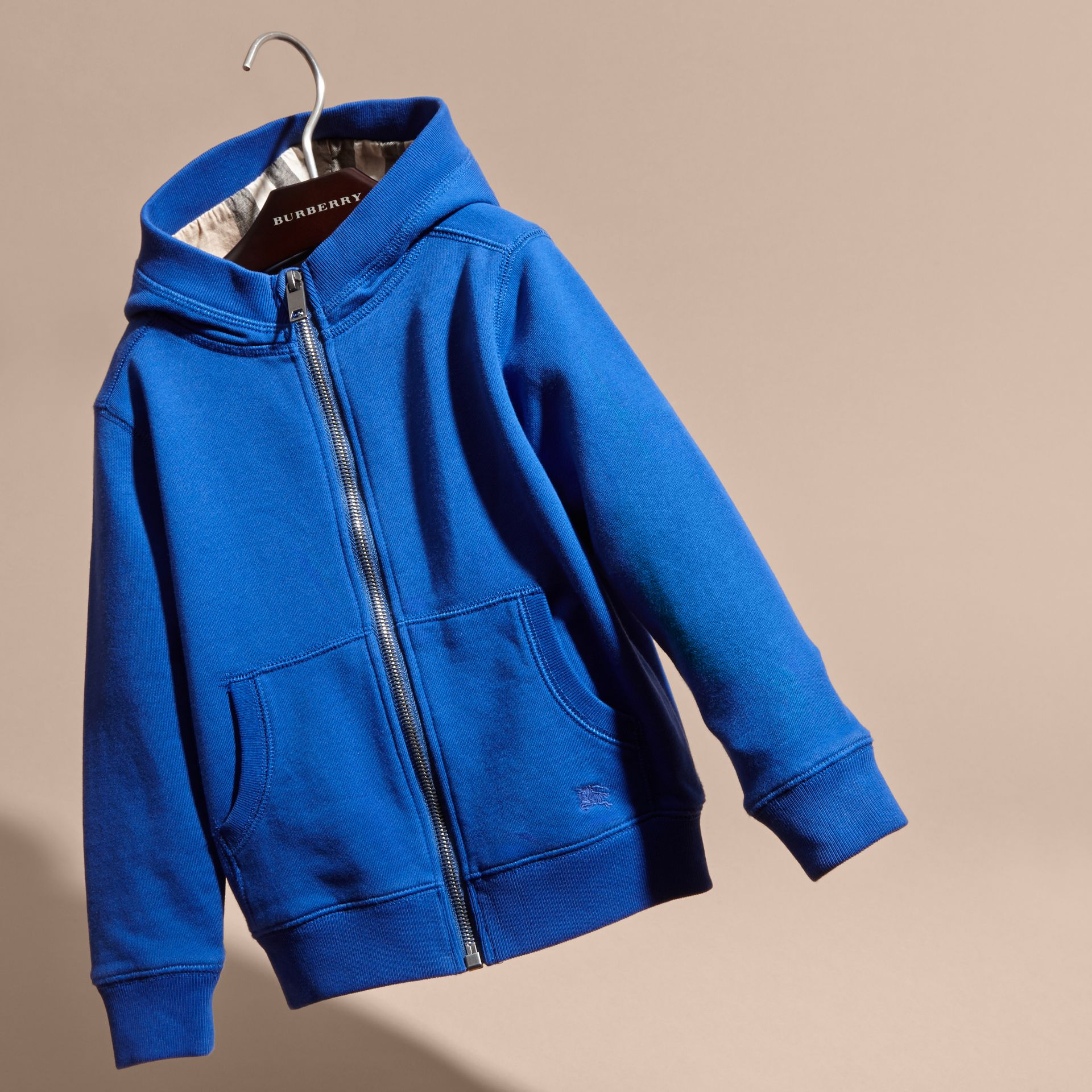 Brilliant blue Hooded Cotton Top Brilliant Blue - gallery image 3