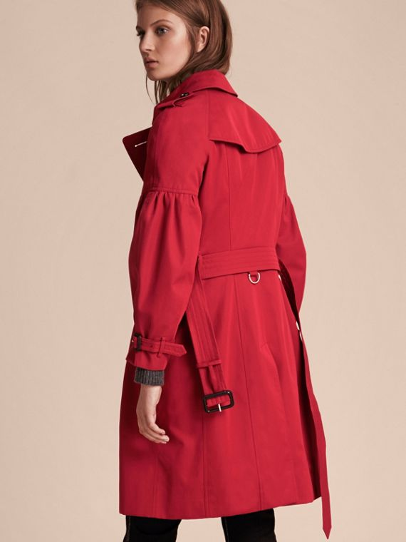 Parade red Cotton Gabardine Trench Coat with Puff Sleeves Parade Red - cell image 2