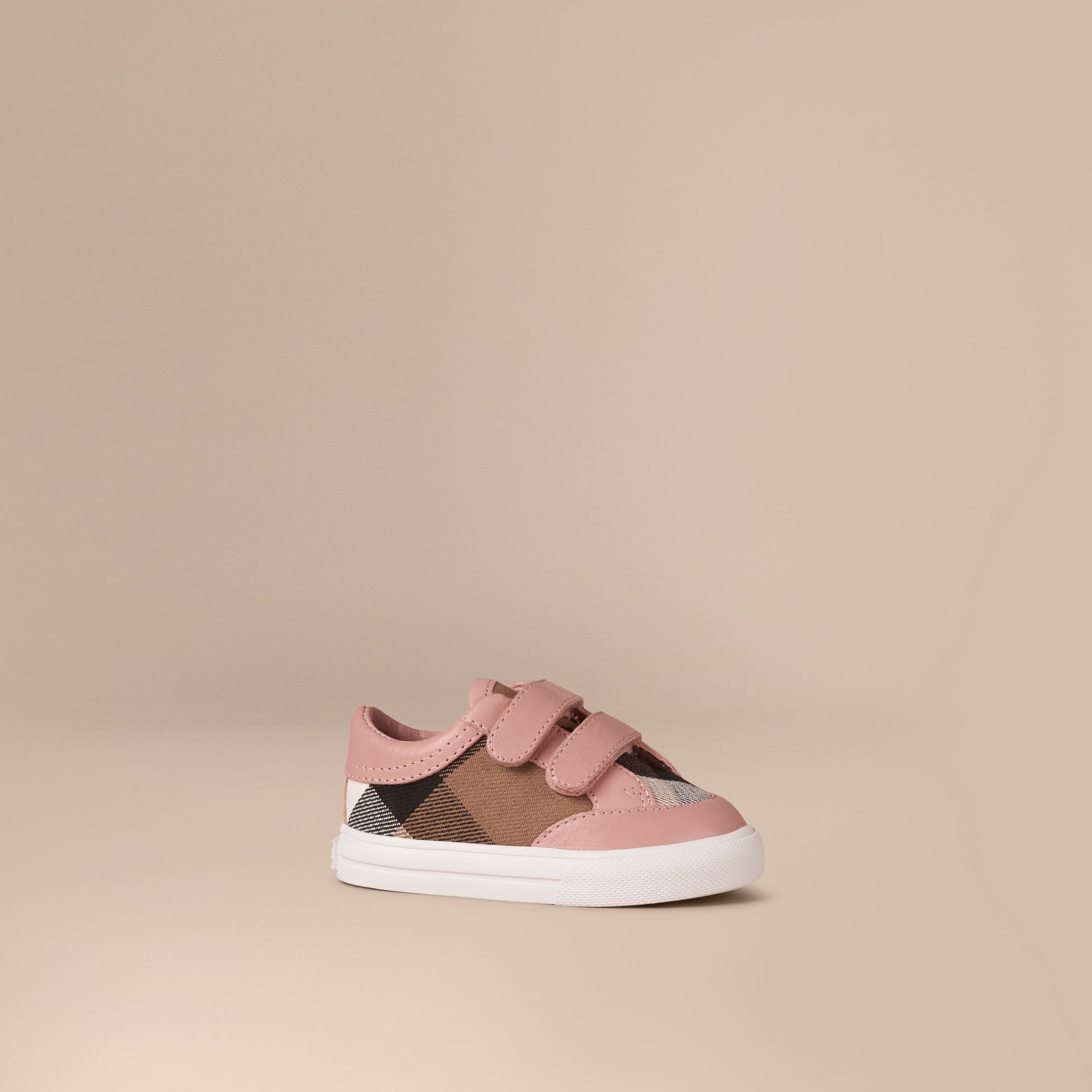 House Check and Leather Trainers in Peony Rose Melange - Children | Burberry Canada - gallery image 1
