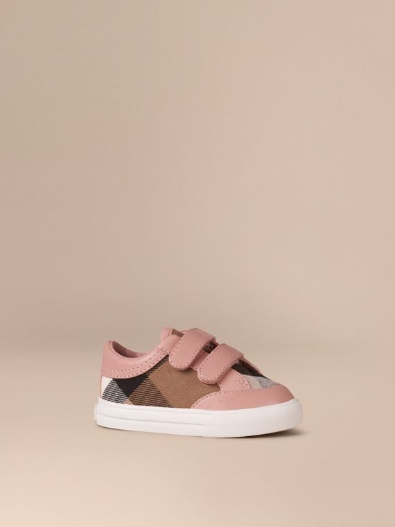 House Check and Leather Trainers in Peony Rose Melange - Children | Burberry