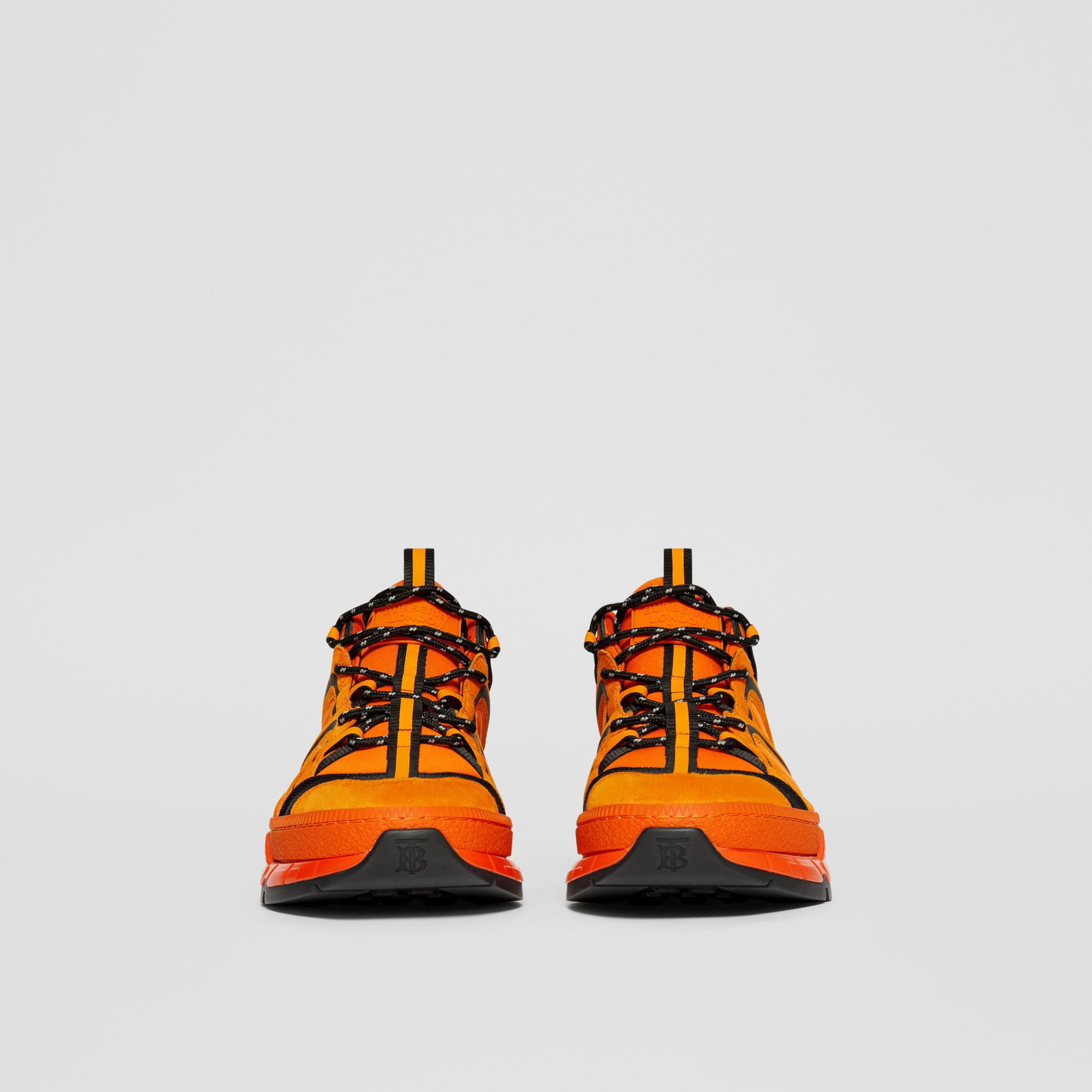 Sneakers Union en nylon, cuir velours et cuir (Orange Vif) - Homme | Burberry Canada - 3