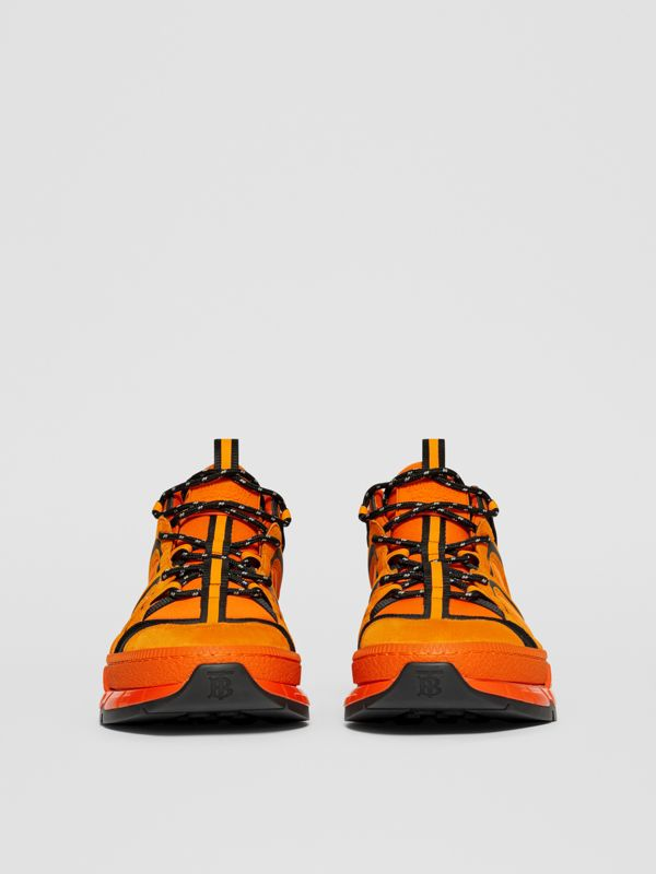 Nylon, Suede and Leather Union Sneakers in Bright Orange - Men | Burberry United Kingdom - cell image 2