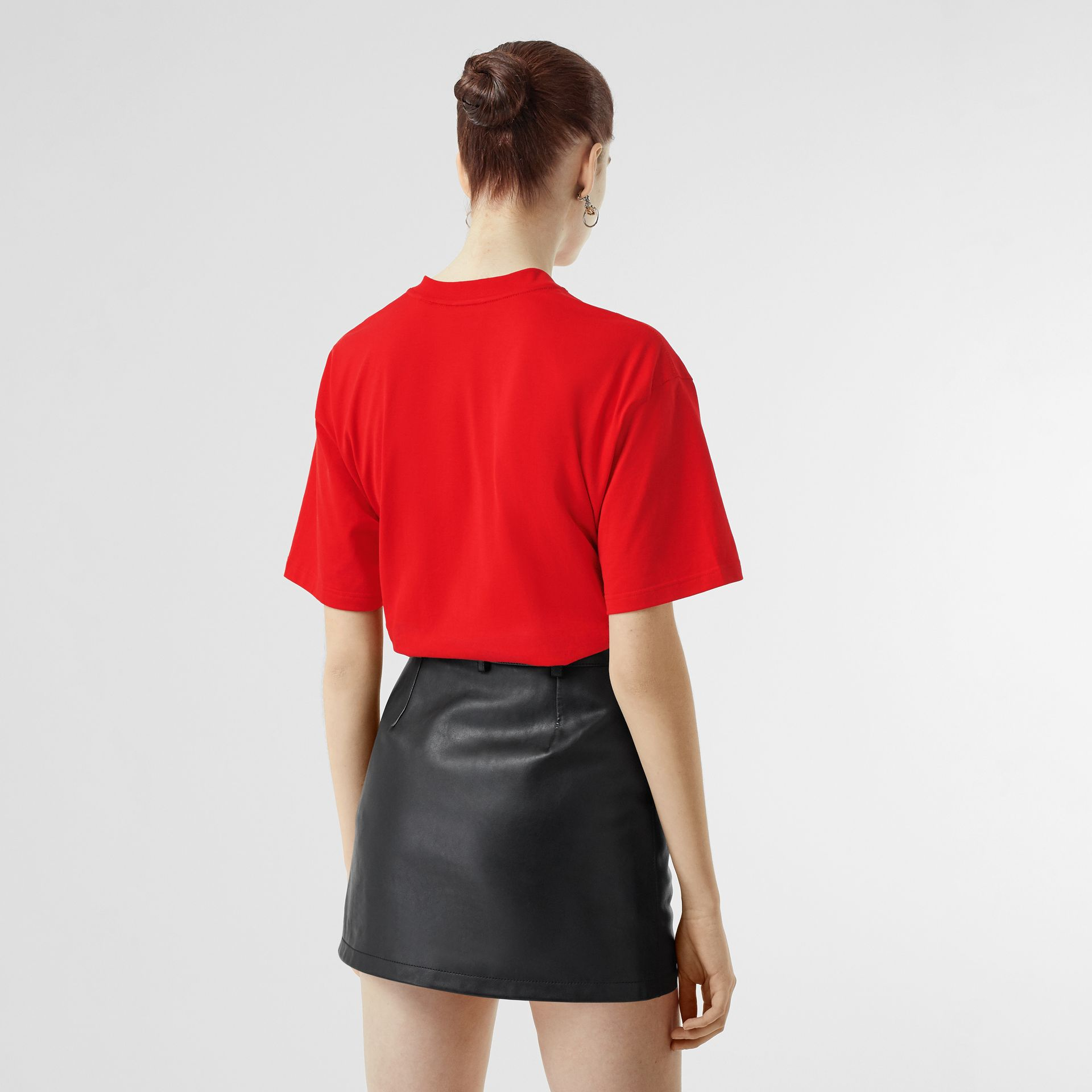 Deer Print Cotton T-shirt in Bright Red - Women | Burberry - gallery image 2