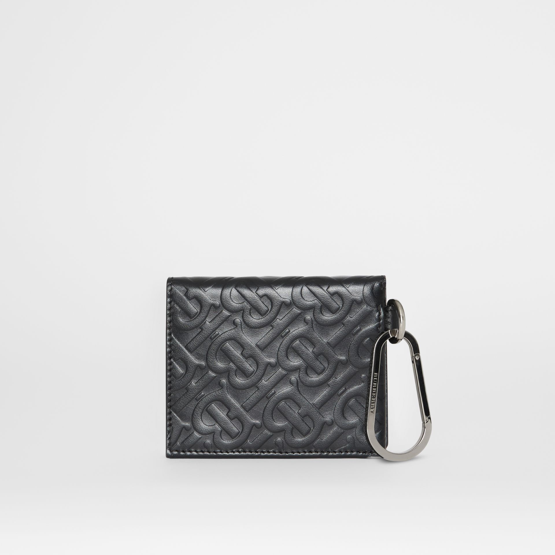 Monogram Embossed Leather Trifold Wallet in Black | Burberry - gallery image 4