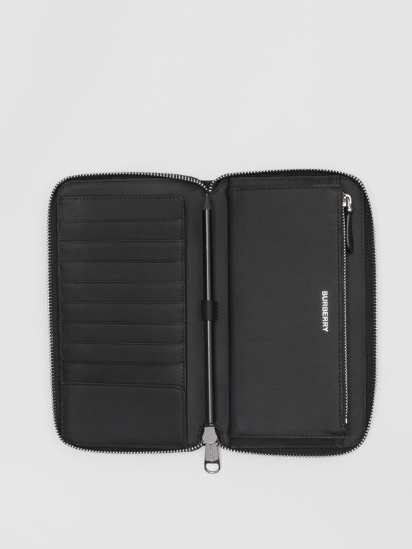 London Check and Leather Ziparound Wallet in Dark Charcoal - Men | Burberry Australia - cell image 2