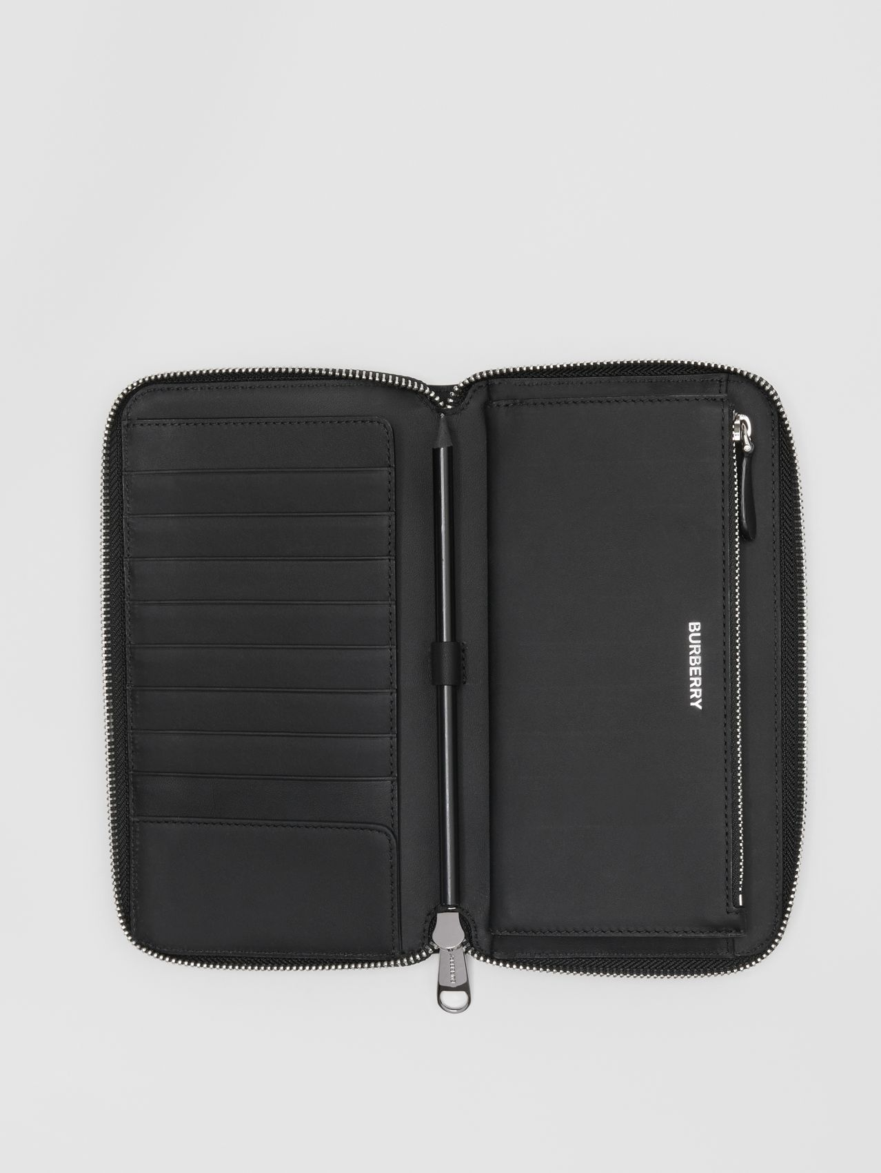London Check and Leather Ziparound Wallet in Dark Charcoal