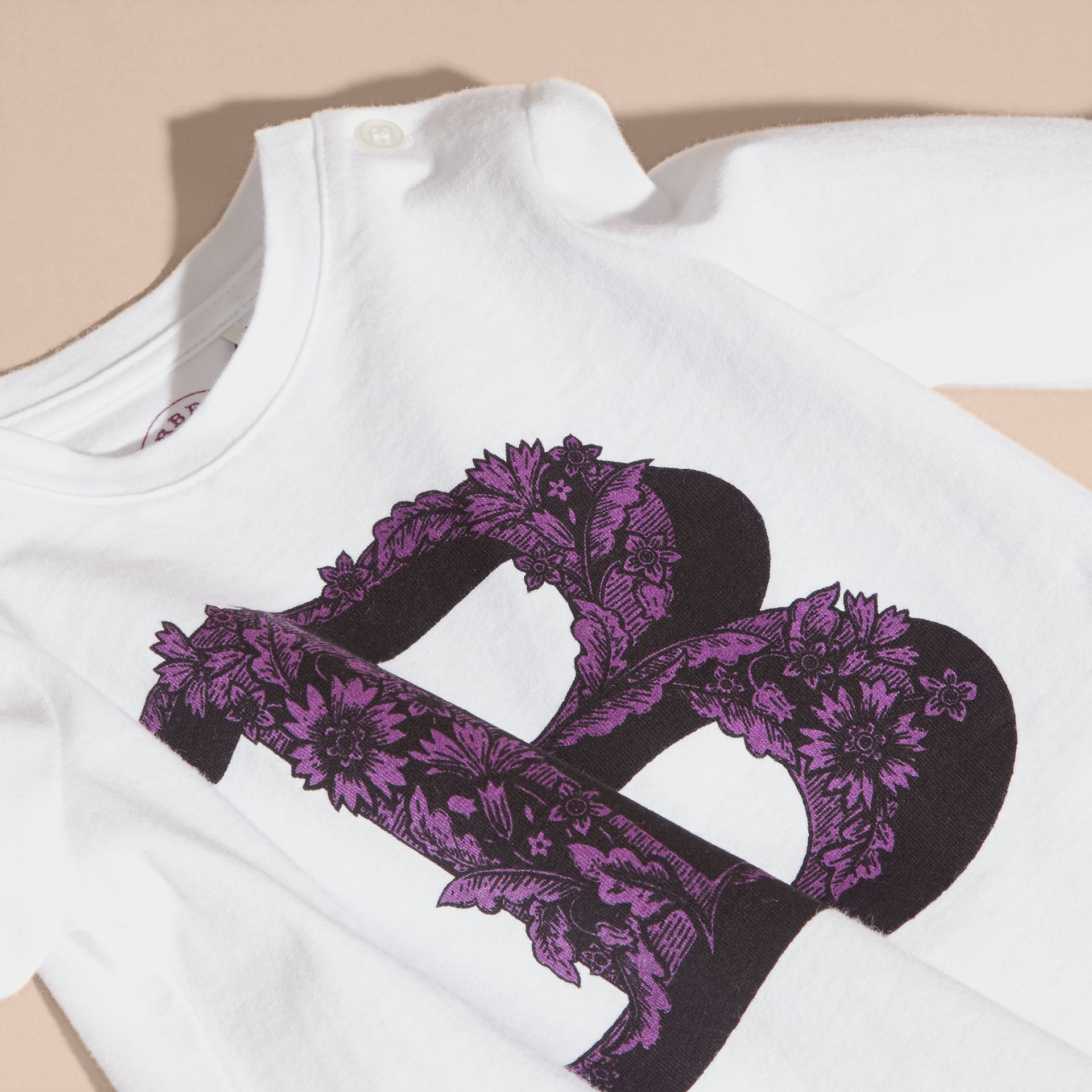 Dark violet Decorative Letter Motif Long-sleeved Cotton T-Shirt - gallery image 2