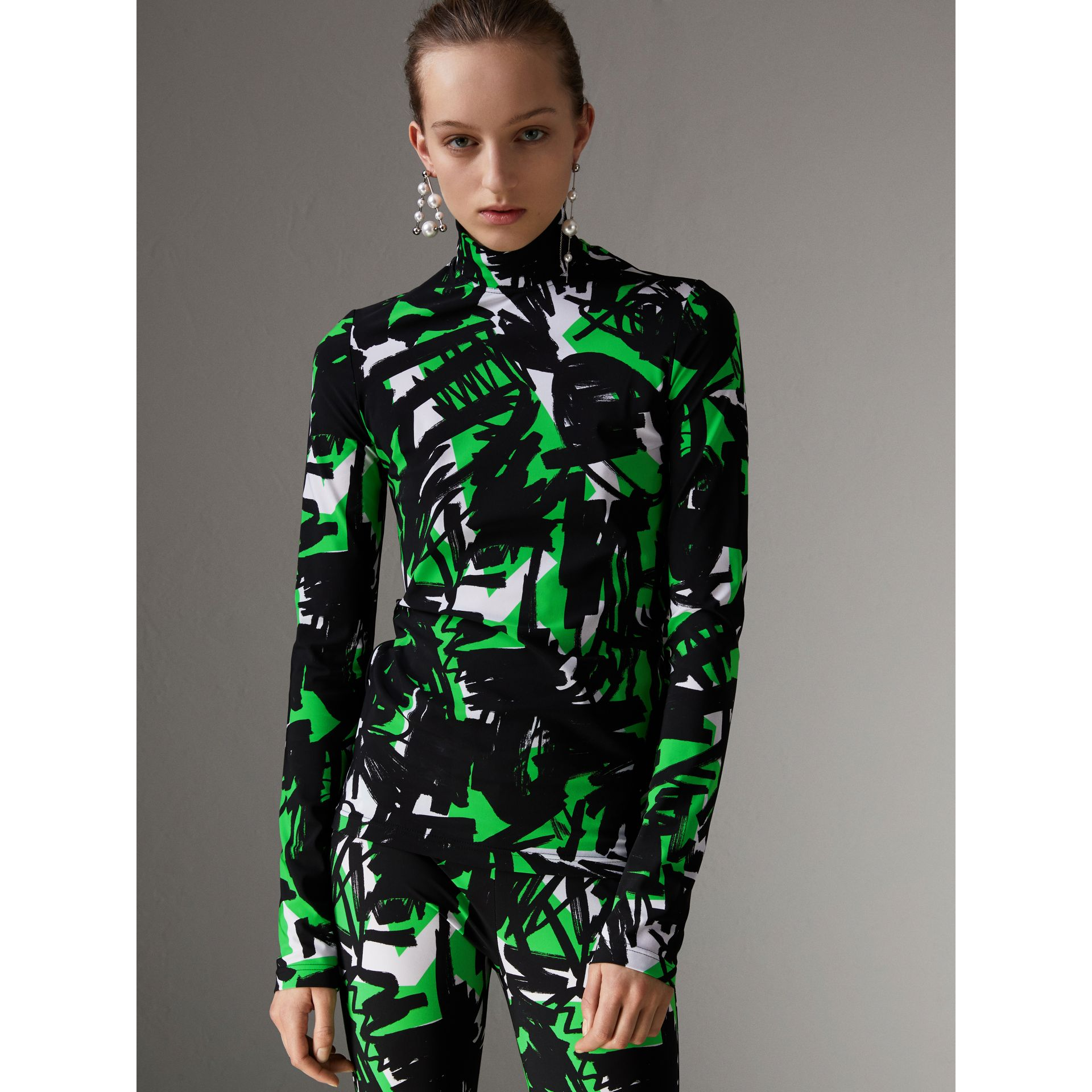 Graffiti Print Stretch Jersey Top in Neon Green - Women | Burberry United Kingdom - gallery image 4