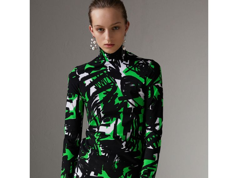Graffiti Print Stretch Jersey Top in Neon Green - Women | Burberry - cell image 4