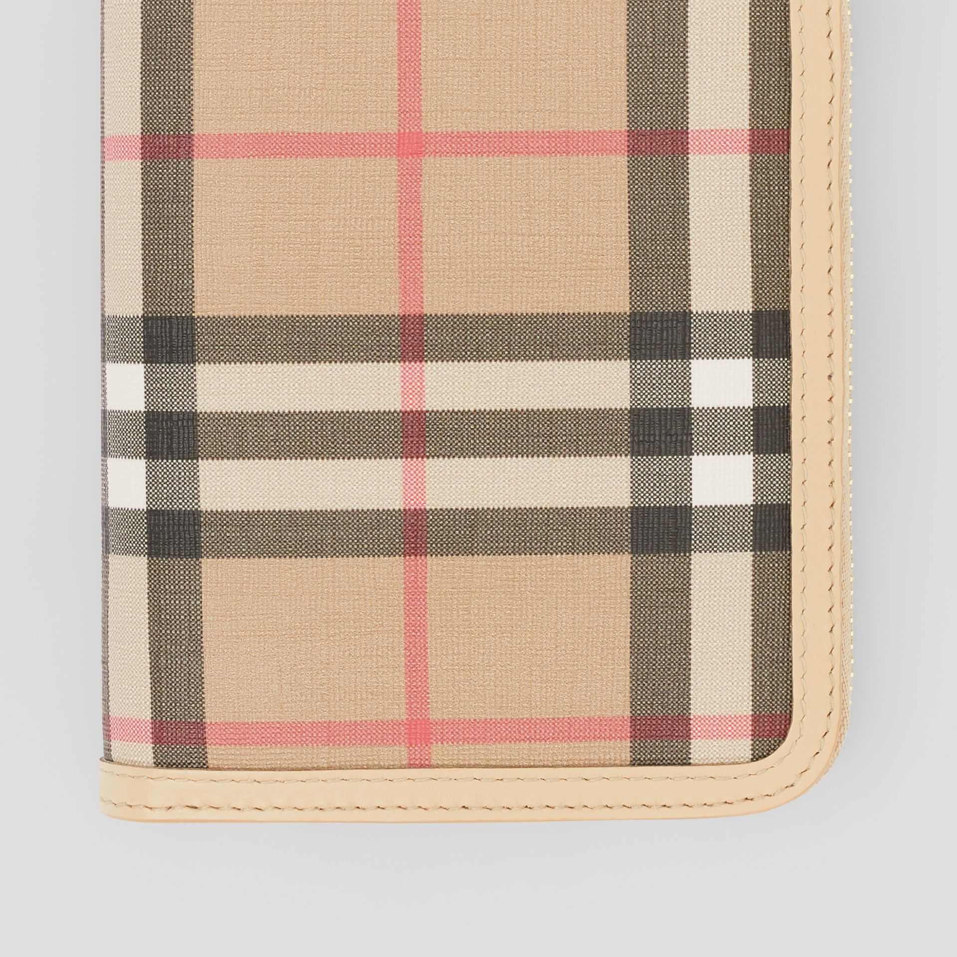 Vintage Check E-canvas and Leather Wallet in Beige - Women | Burberry Hong Kong S.A.R - gallery image 1
