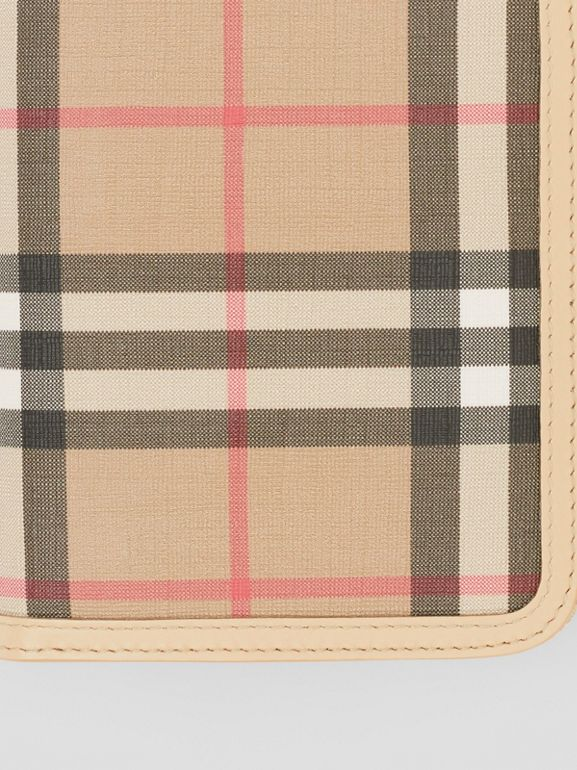Vintage Check E-canvas and Leather Wallet in Beige - Women | Burberry - cell image 1