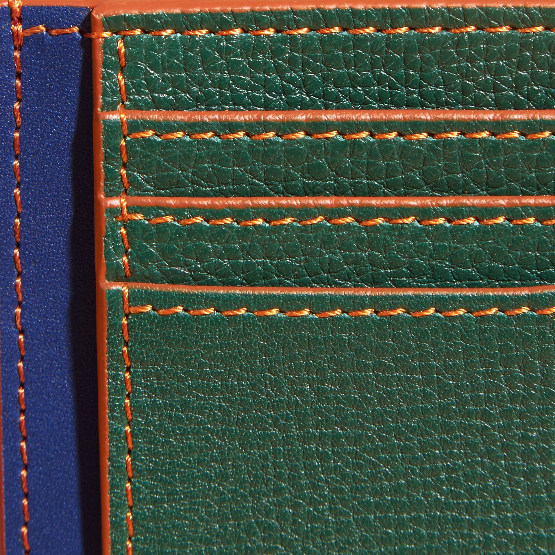 Colour Block Leather Card Case Sea Green - gallery image 2
