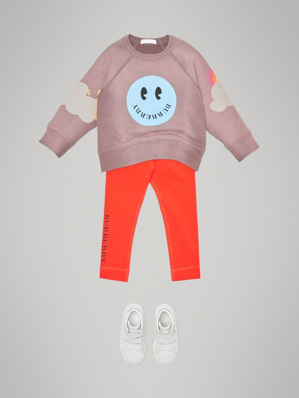 Smiley Face Print Cotton Sweatshirt in Mauve | Burberry Australia - cell image 2