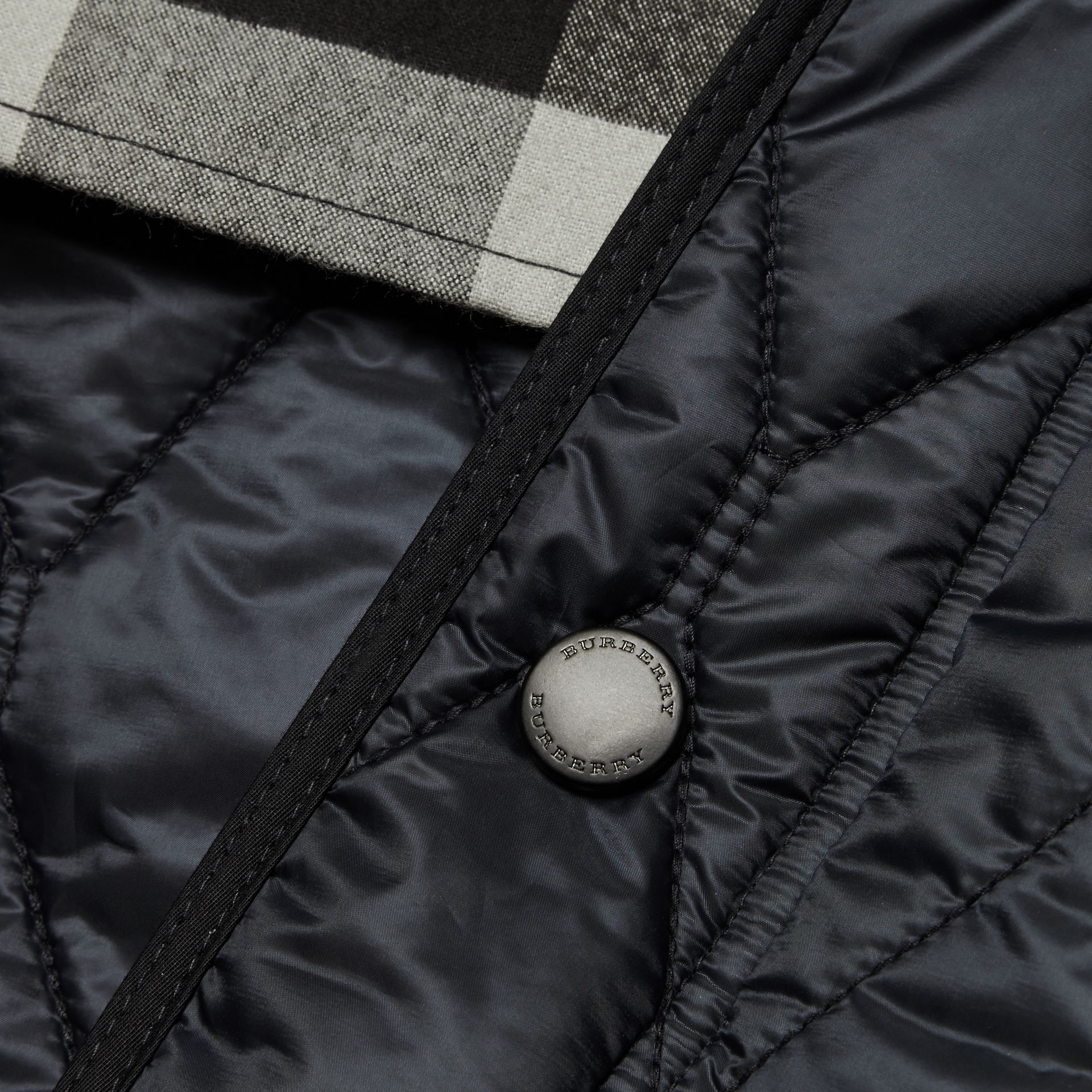 Navy Stand Collar Military Quilted Jacket - gallery image 2