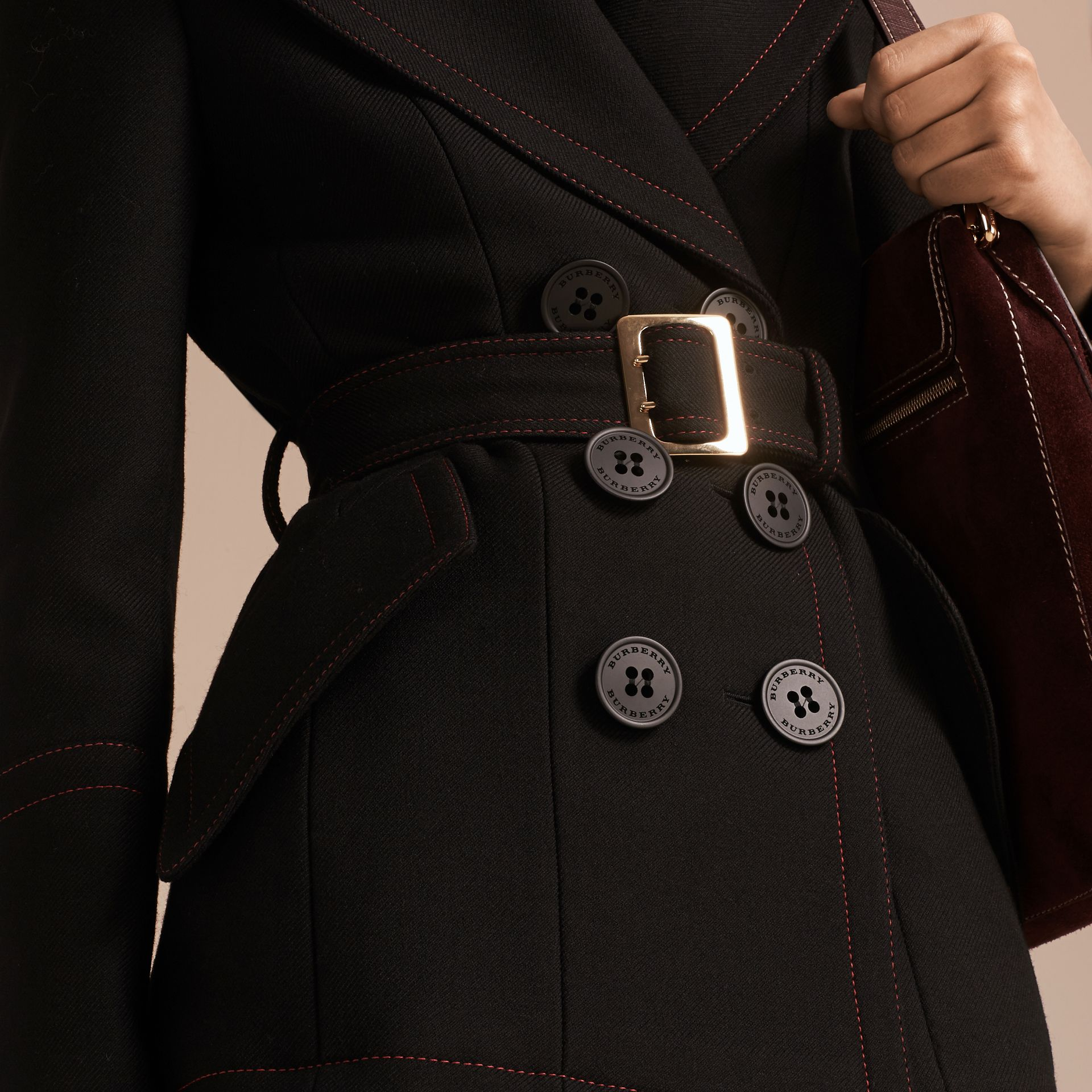 Black Wool Silk Pea Coat with Regimental Topstitching - gallery image 5