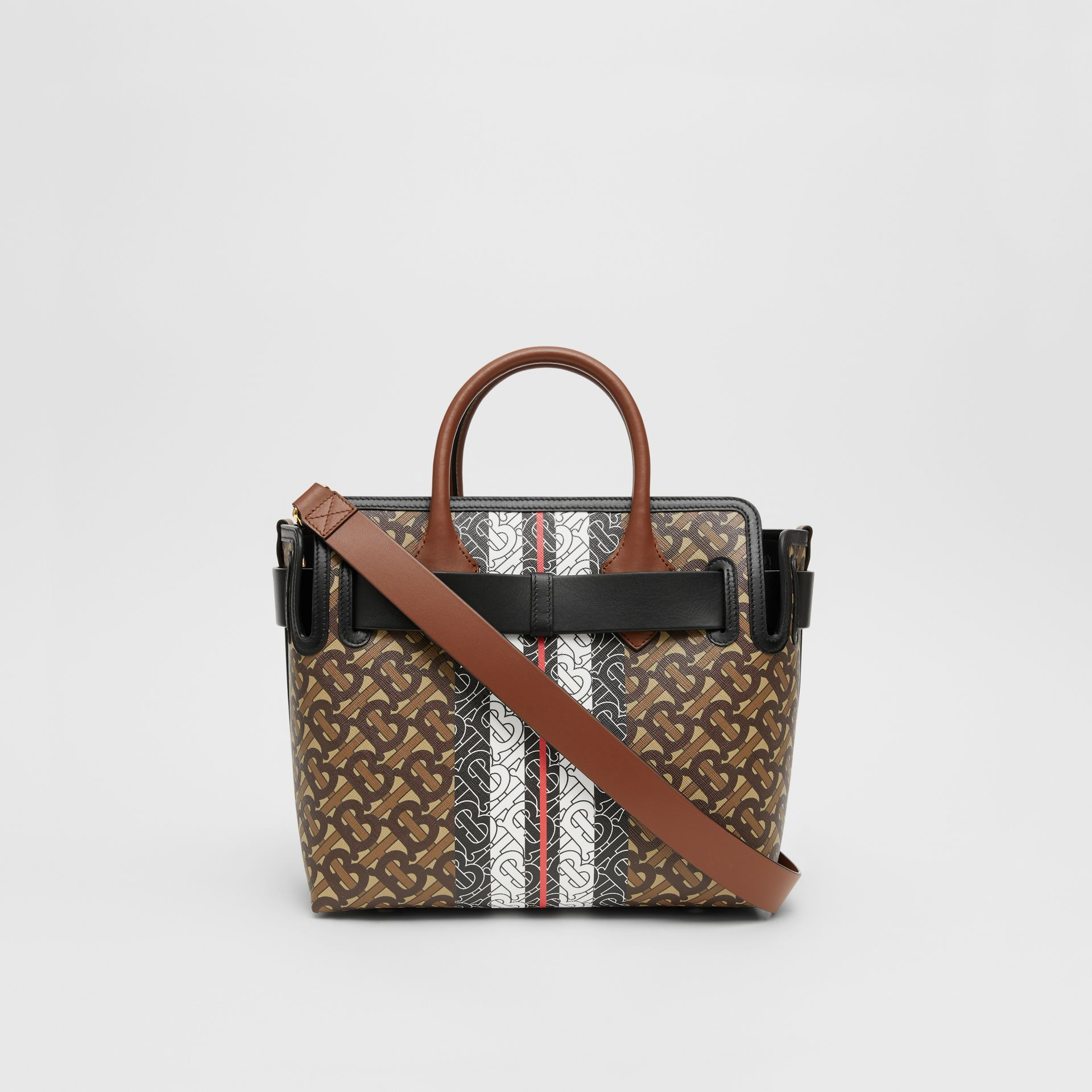 The Small Monogram Stripe E-canvas Belt Bag in Bridle Brown - Women | Burberry United Kingdom - gallery image 7