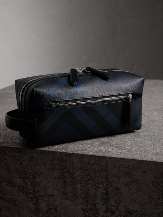 London Check and Leather Pouch in Navy/black - Men | Burberry Singapore - cell image 2