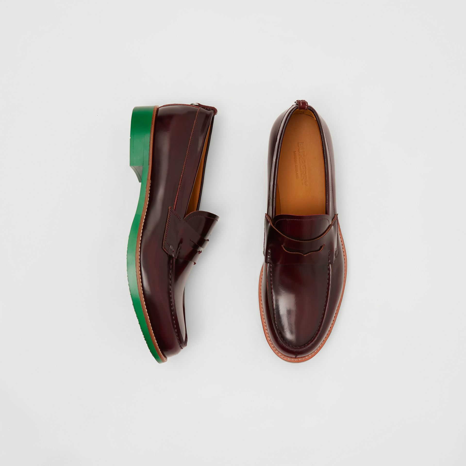 D-ring Detail Contrast Sole Leather Loafers in Bordeaux/green - Men | Burberry - gallery image 0