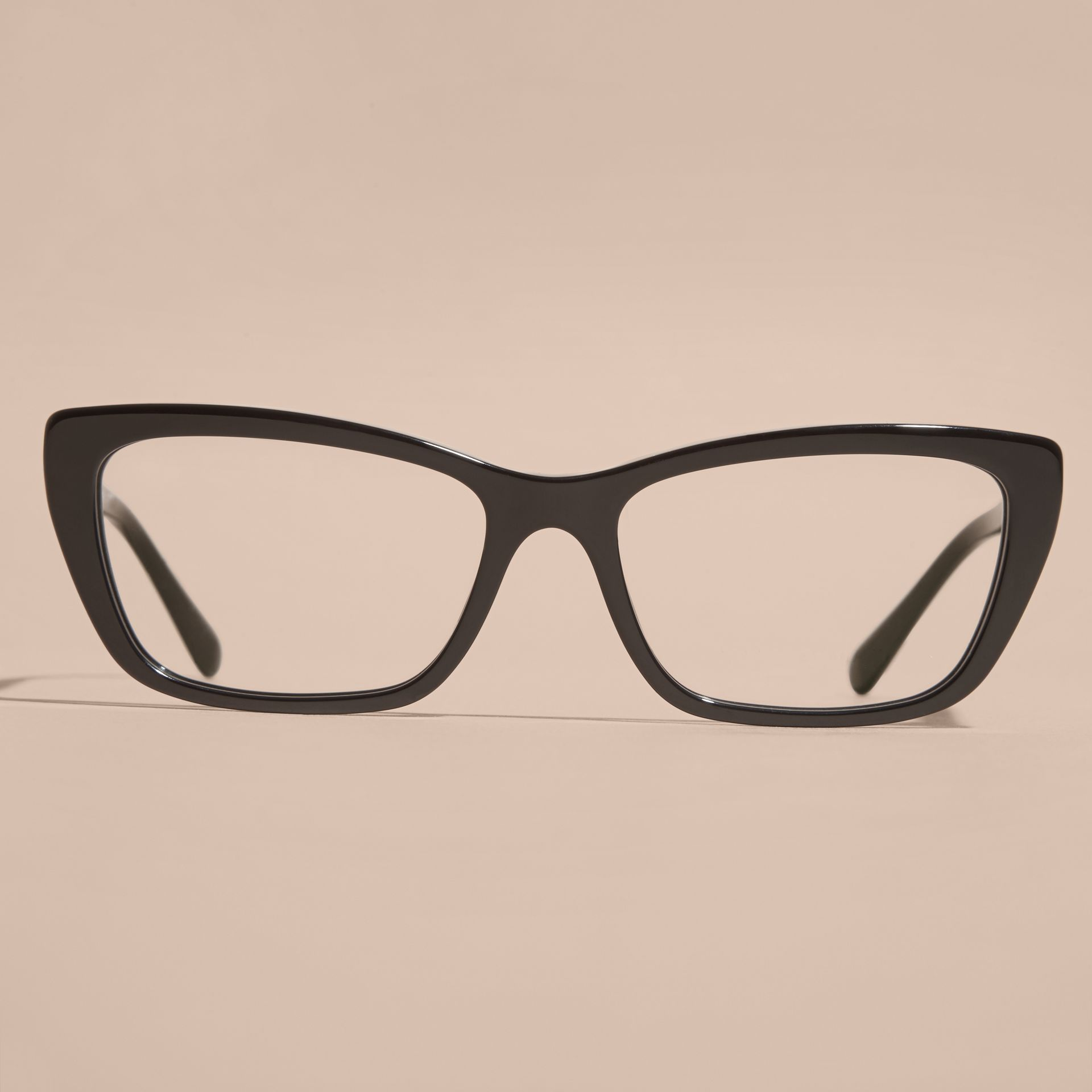 Black Check Detail Rectangular Cat-eye Optical Frames Black - gallery image 3