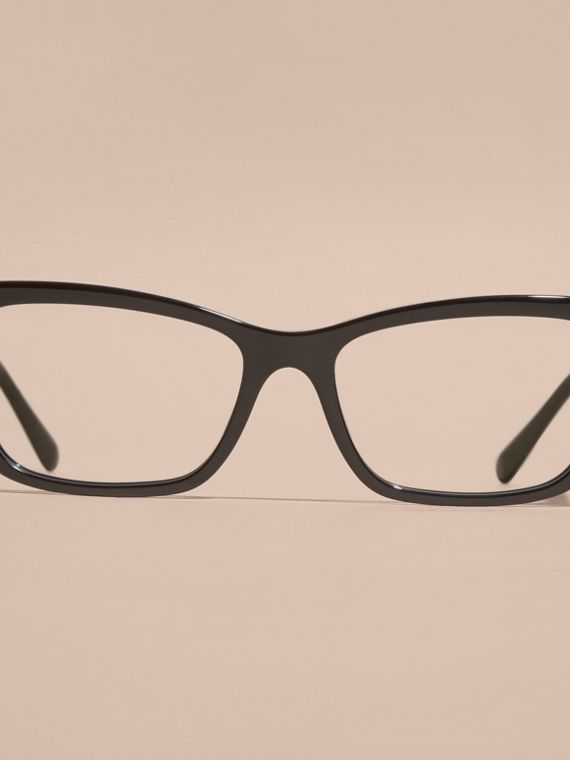 Black Check Detail Rectangular Cat-eye Optical Frames Black - cell image 2