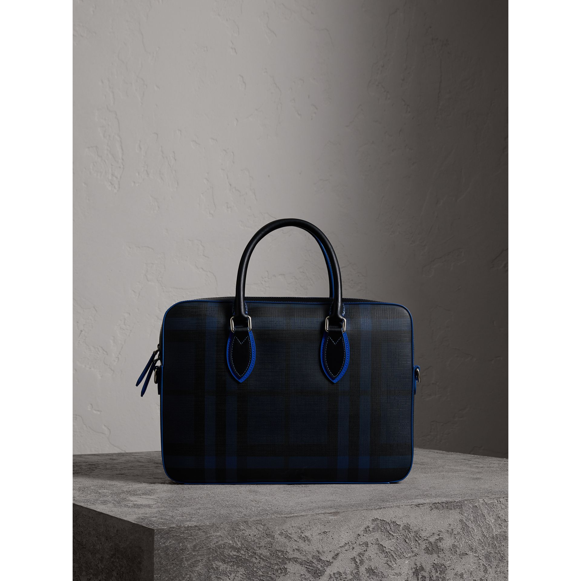 Medium Leather Trim London Check Briefcase in Navy/blue - Men | Burberry - gallery image 1
