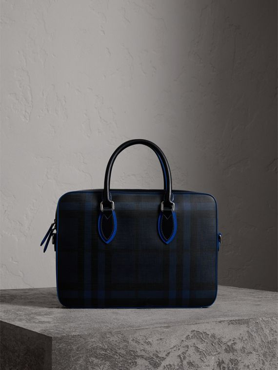 Borsa portadocumenti media con motivo London check e finiture in pelle (Navy/blu)