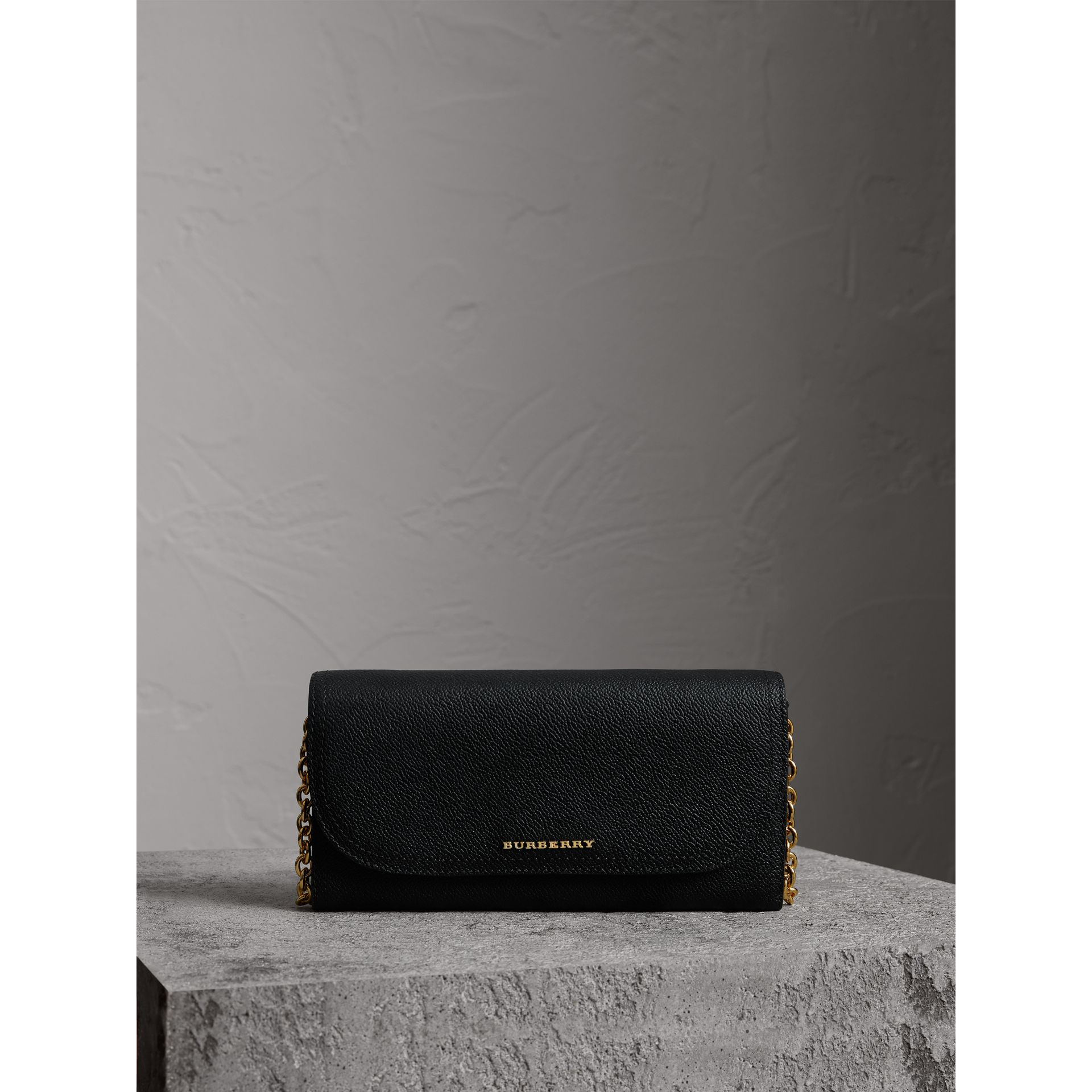 Leather Wallet with Chain in Black - Women | Burberry - gallery image 7