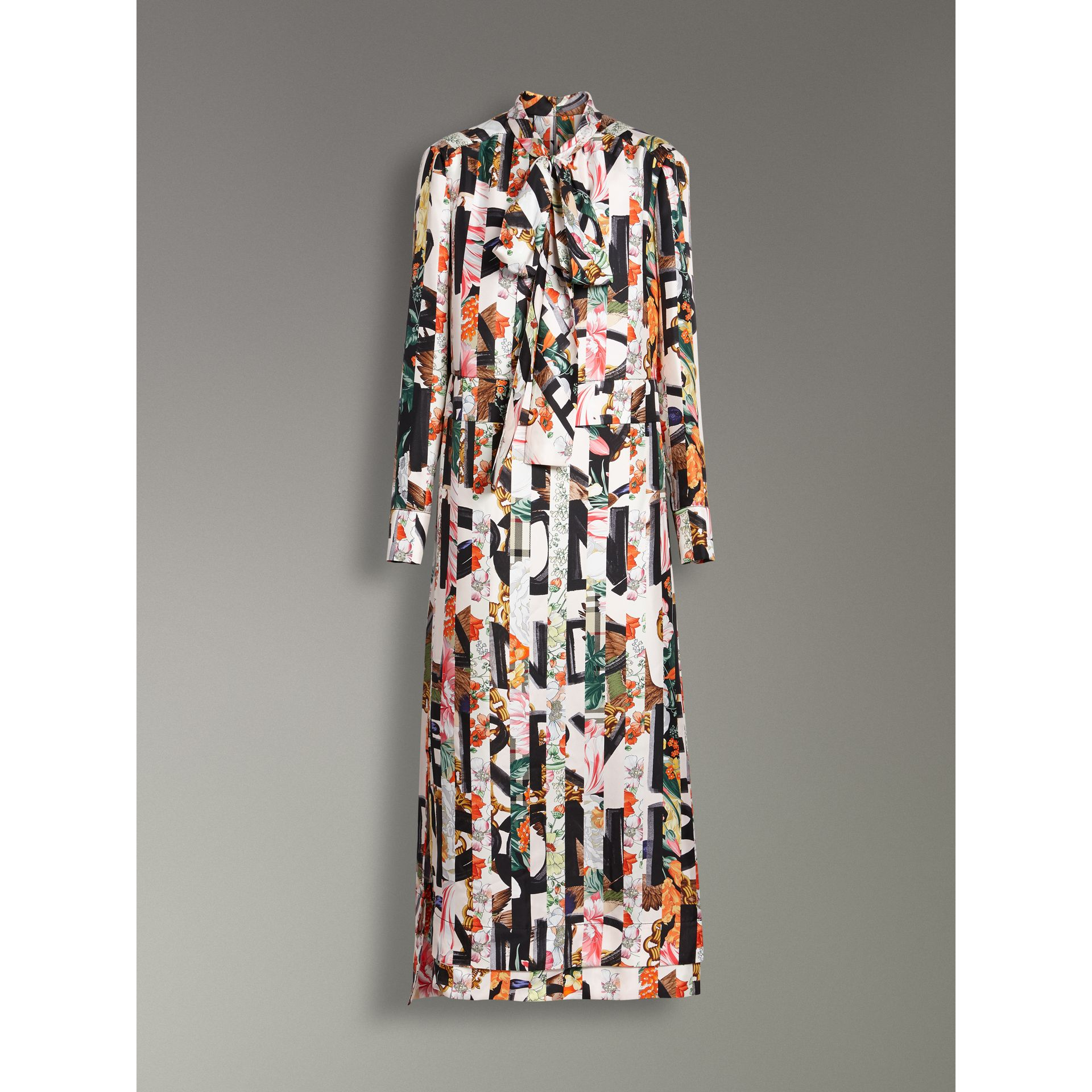 Graffiti Archive Scarf Print Silk Tie-neck Dress in Multicolour - Women | Burberry Hong Kong - gallery image 3