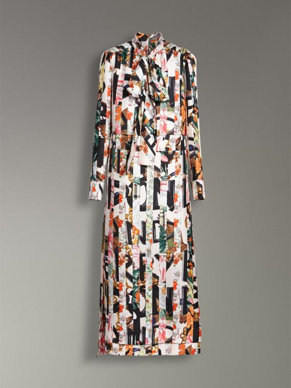 Graffiti Archive Scarf Print Silk Tie-neck Dress in Multicolour - Women | Burberry Hong Kong - cell image 3