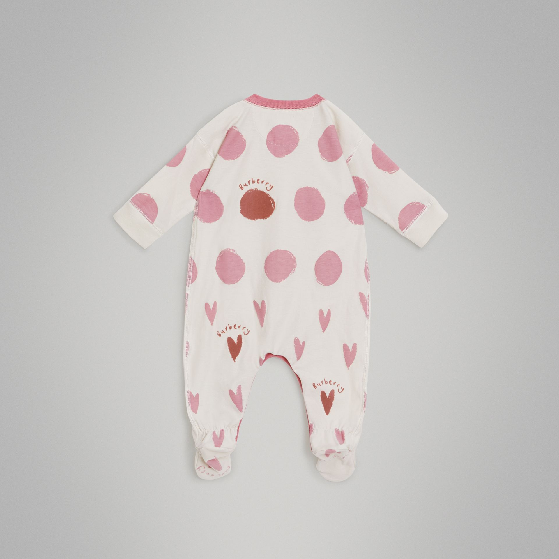 Spot and Heart Print Cotton Two-piece Baby Gift Set in Rose Pink - Children | Burberry - gallery image 3