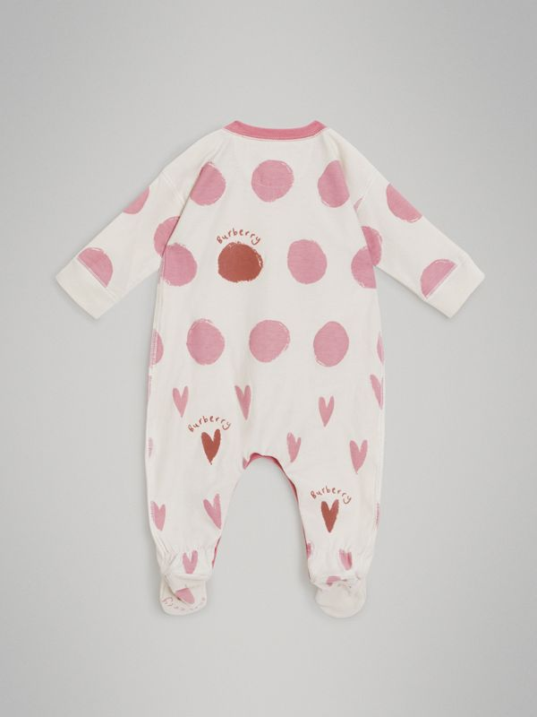 Spot and Heart Print Cotton Two-piece Baby Gift Set in Rose Pink - Children | Burberry - cell image 3