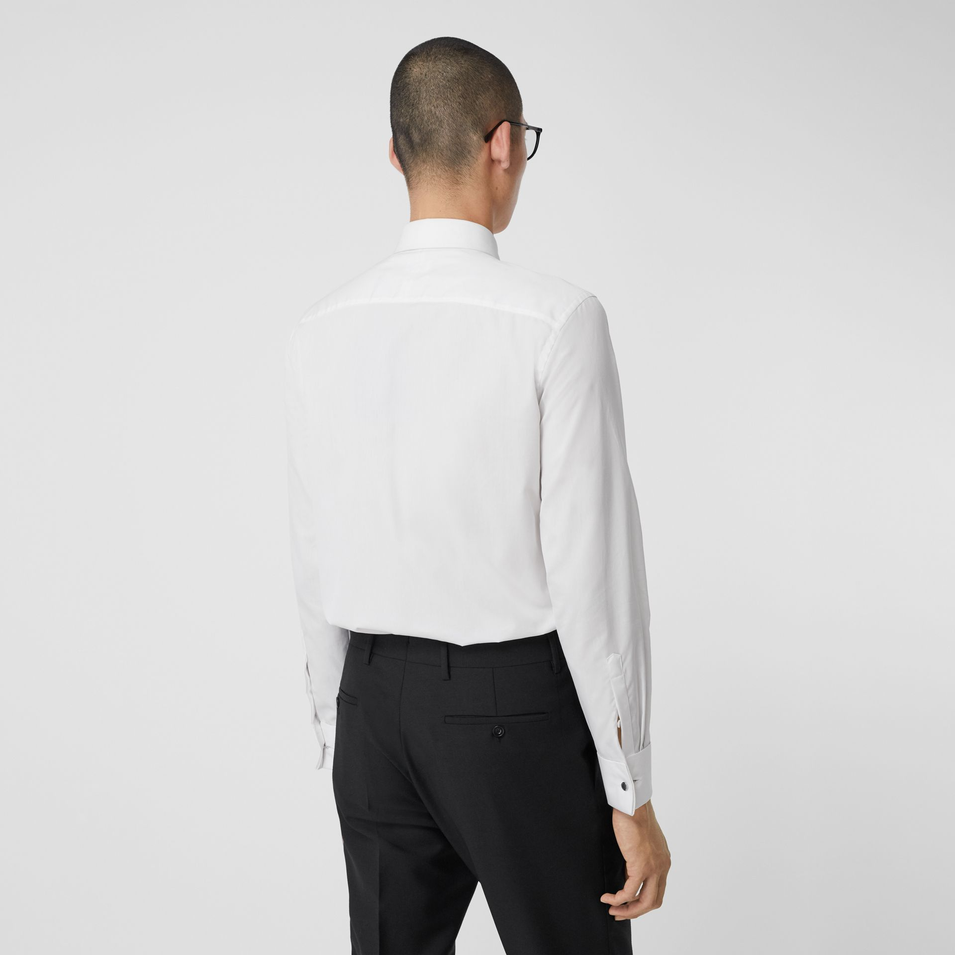 Pleated Bib Cotton Poplin Dress Shirt in Optic White - Men | Burberry - gallery image 2