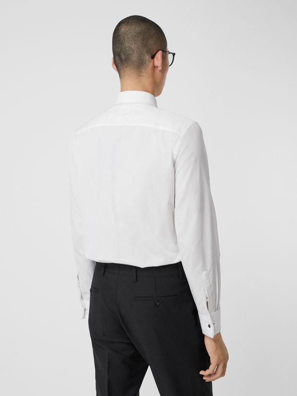 Pleated Bib Cotton Poplin Dress Shirt in Optic White - Men | Burberry - cell image 2