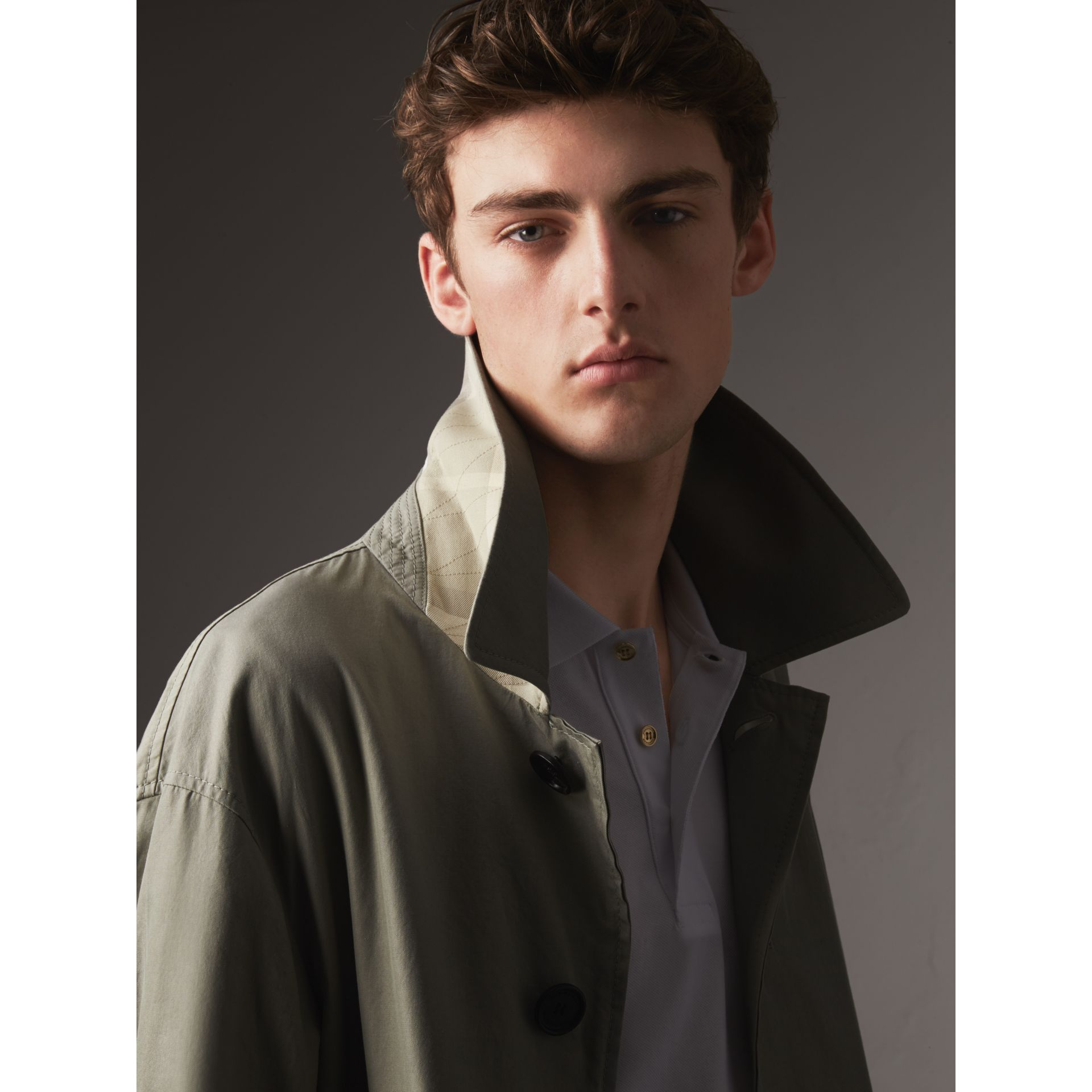 Unisex Tropical Gabardine Car Coat with Exaggerated Cuffs in Slate Green - Men | Burberry - gallery image 2