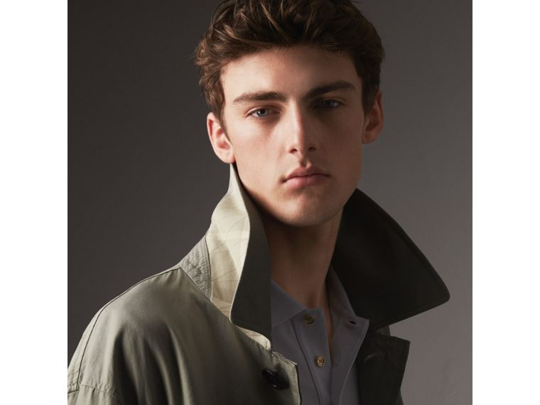 Unisex Tropical Gabardine Car Coat with Exaggerated Cuffs in Slate Green - Men | Burberry - cell image 1