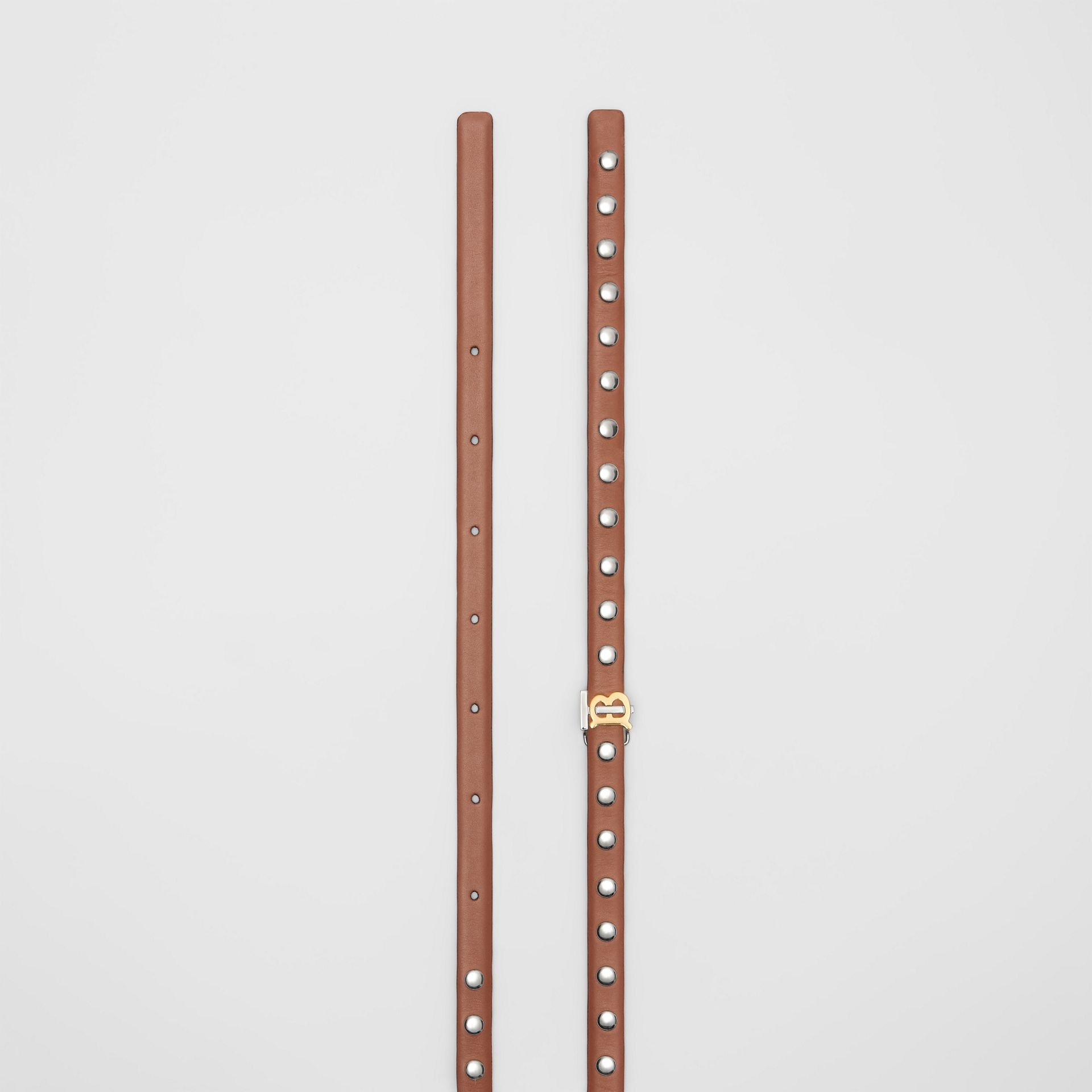 Monogram Motif Studded Leather Belt in Malt Brown/palladio - Women | Burberry - gallery image 5