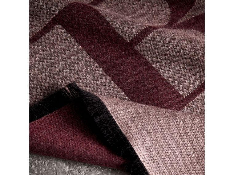Graphic Print Motif Cashmere Wrap in Ash Rose - Women | Burberry - cell image 1
