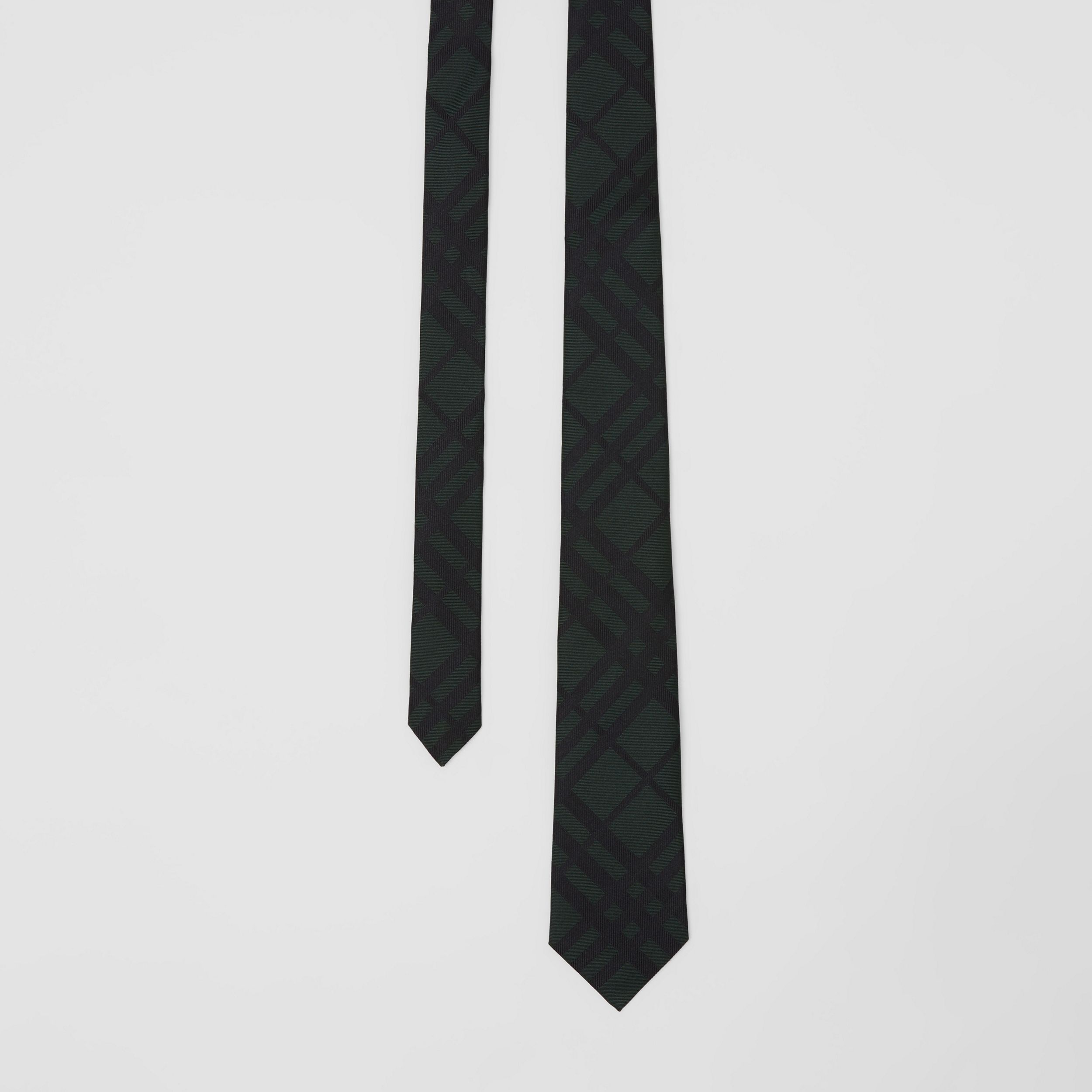 Classic Cut Check Silk Jacquard Tie in Dark Forest Green - Men | Burberry - 1