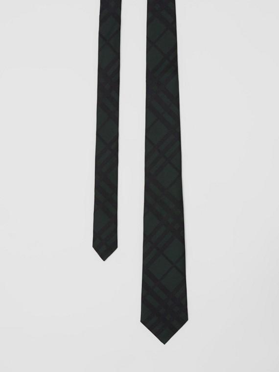 Classic Cut Check Silk Jacquard Tie in Dark Forest Green