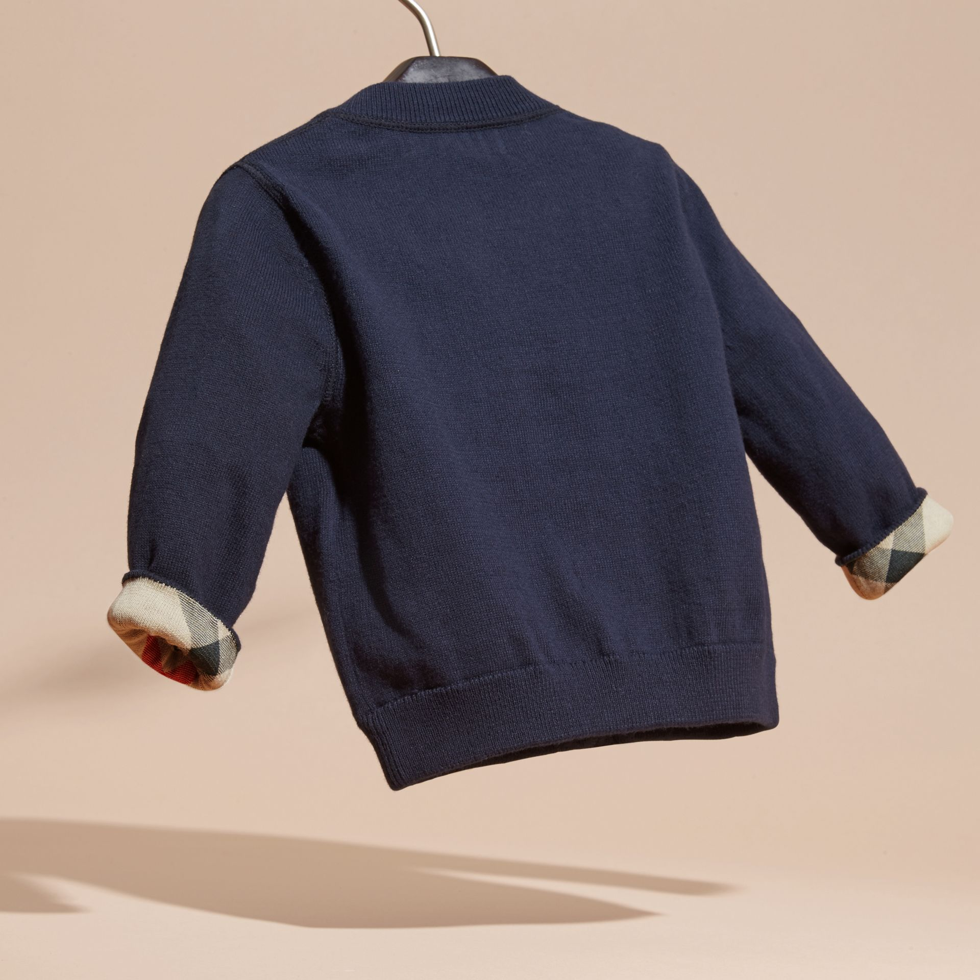 Check Detail Cotton Cardigan in Navy | Burberry - gallery image 3